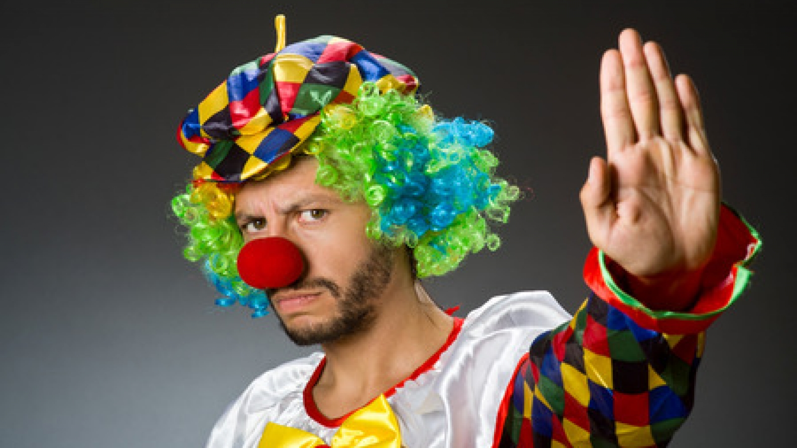 36688846 - funny clown in colourful costume