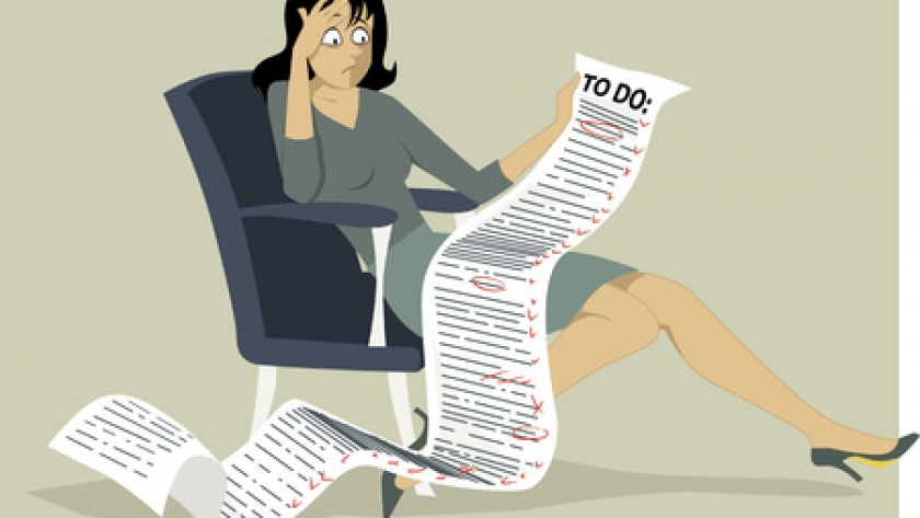 40343817 - frustrated woman sitting in a chair holding a comically long to do list vector illustration no transparencies eps 8