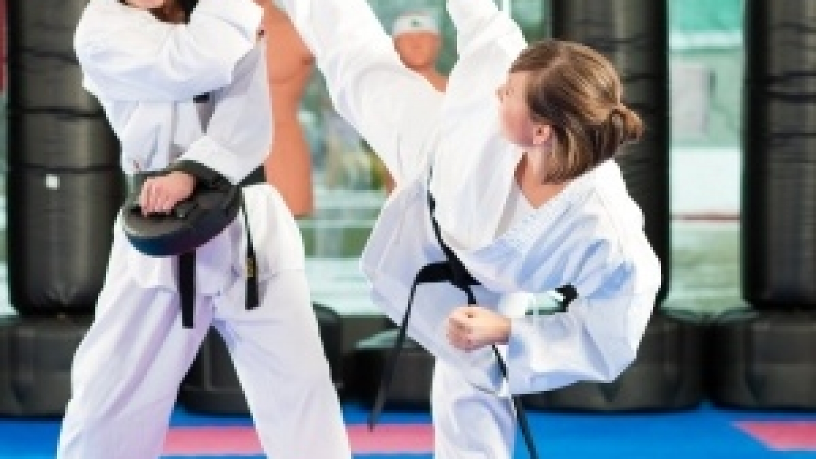 17264192 - people in a gym in martial arts training exercising taekwondo, both have a black belt