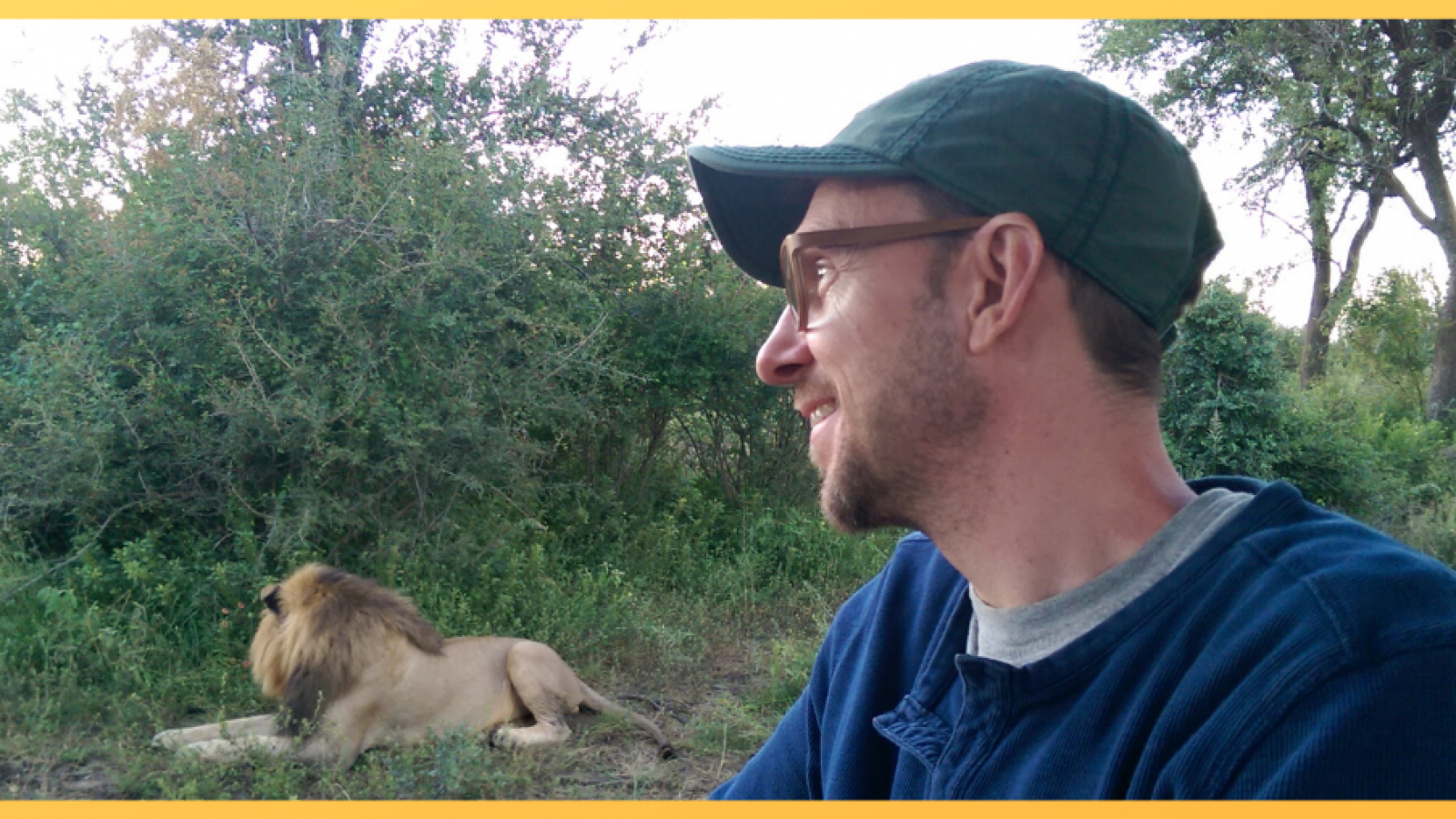 Tim on safari in S. Africa - observing sleeping lion